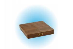 Drewniany zegar / ładowarka indukcyjna - brąz