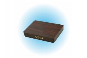 Drewniany zegar / ładowarka indukcyjna - ciemny brąz